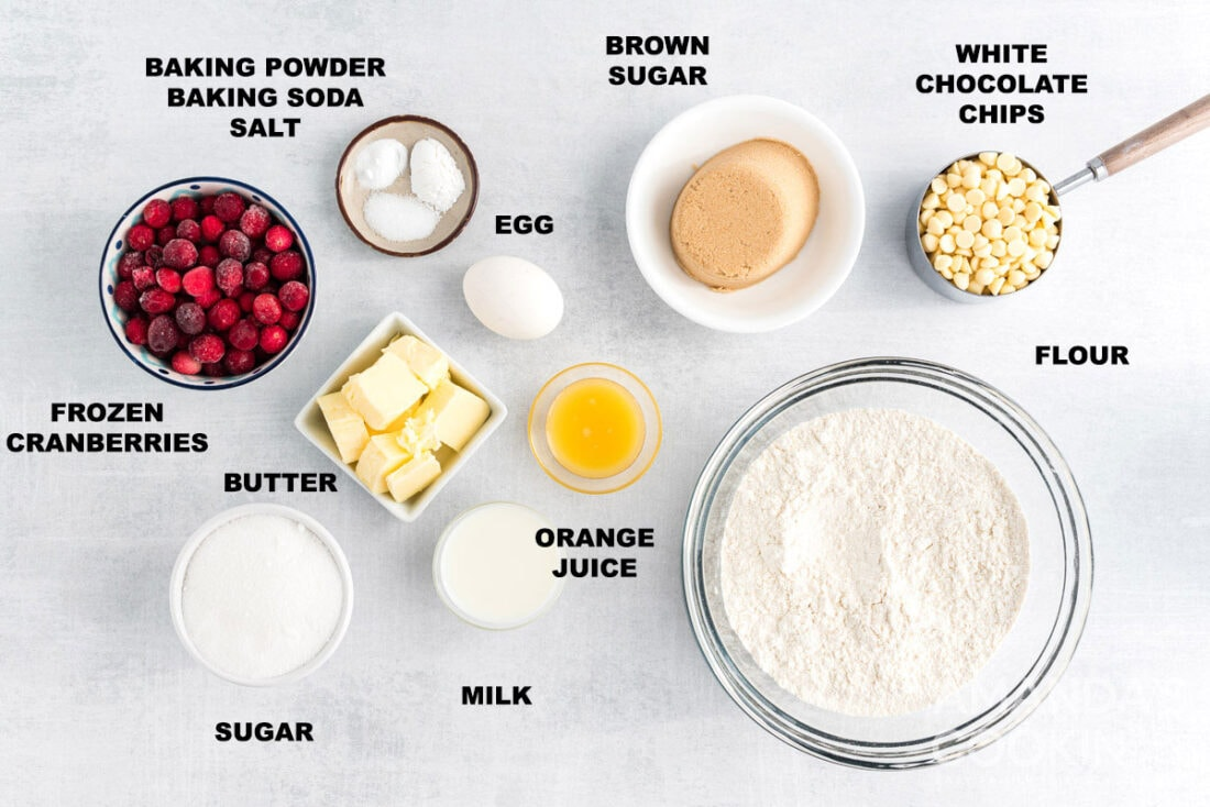 labeled ingredients for White Chocolate Cranberry Cookies
