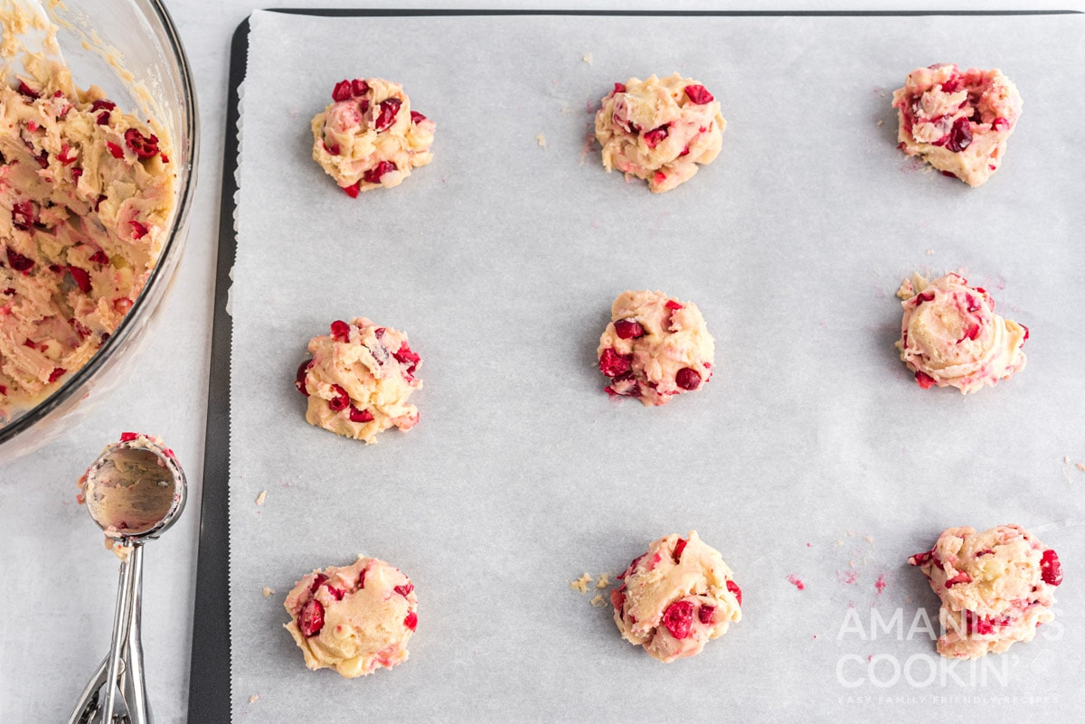 White Chocolate Cranberry Cookies dough balls on sheet