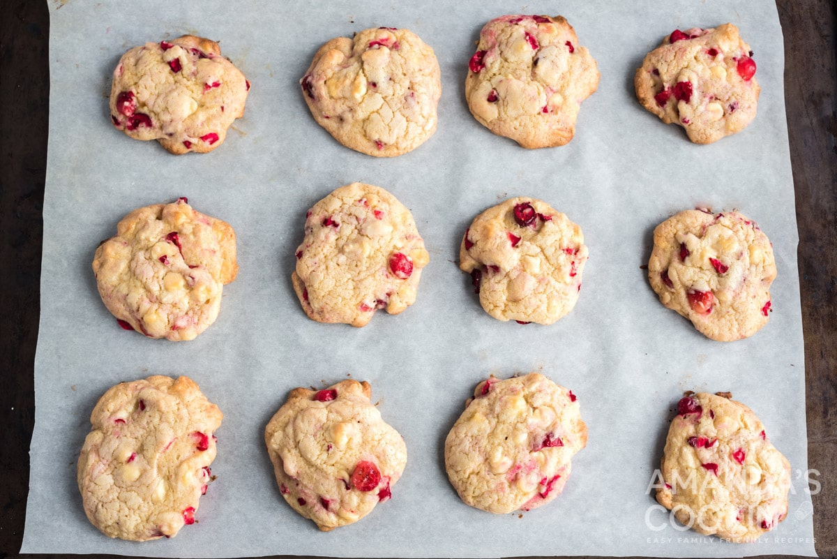 White Chocolate Cranberry Cookies on cookie sheet