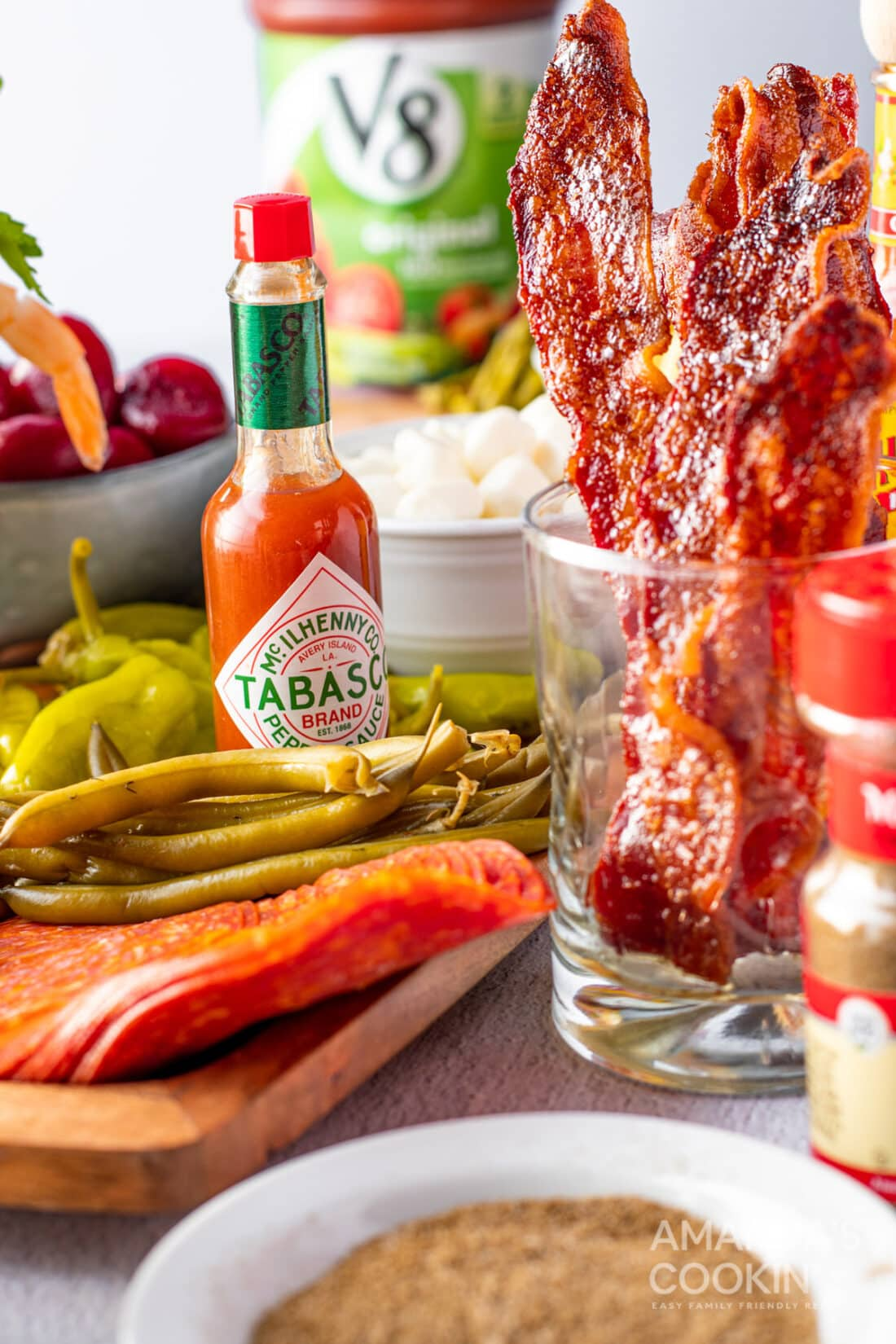 tabasco sauce and bloody mary toppings