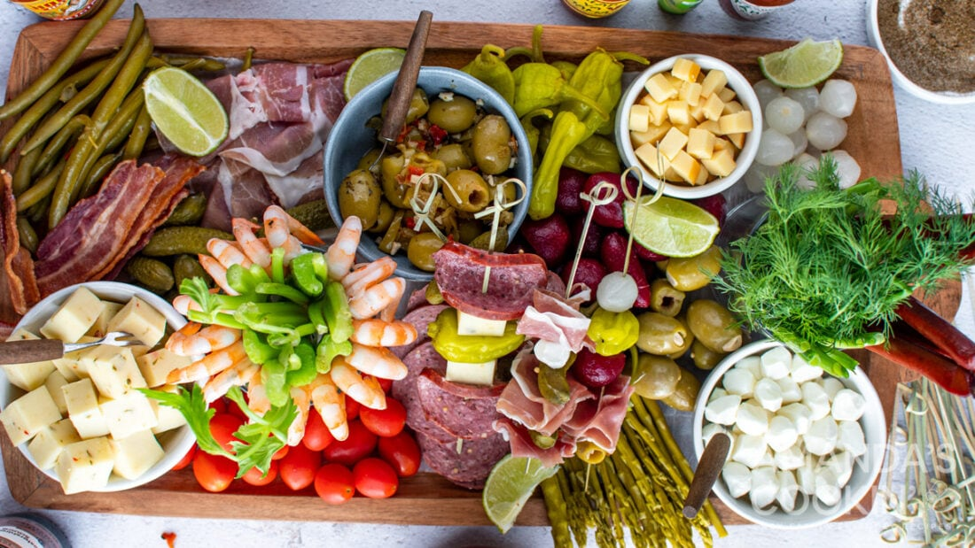 charcuterie board for bloody mary toppings
