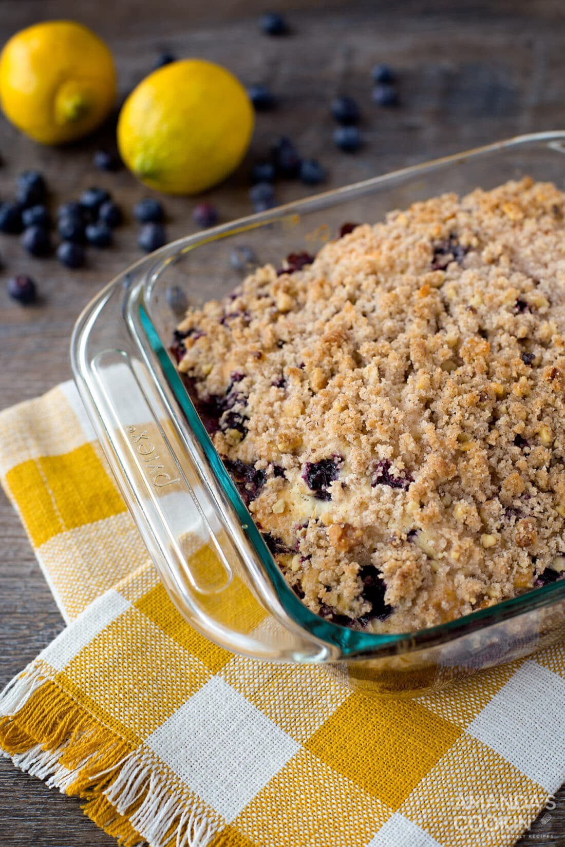 pan of blueberry cake