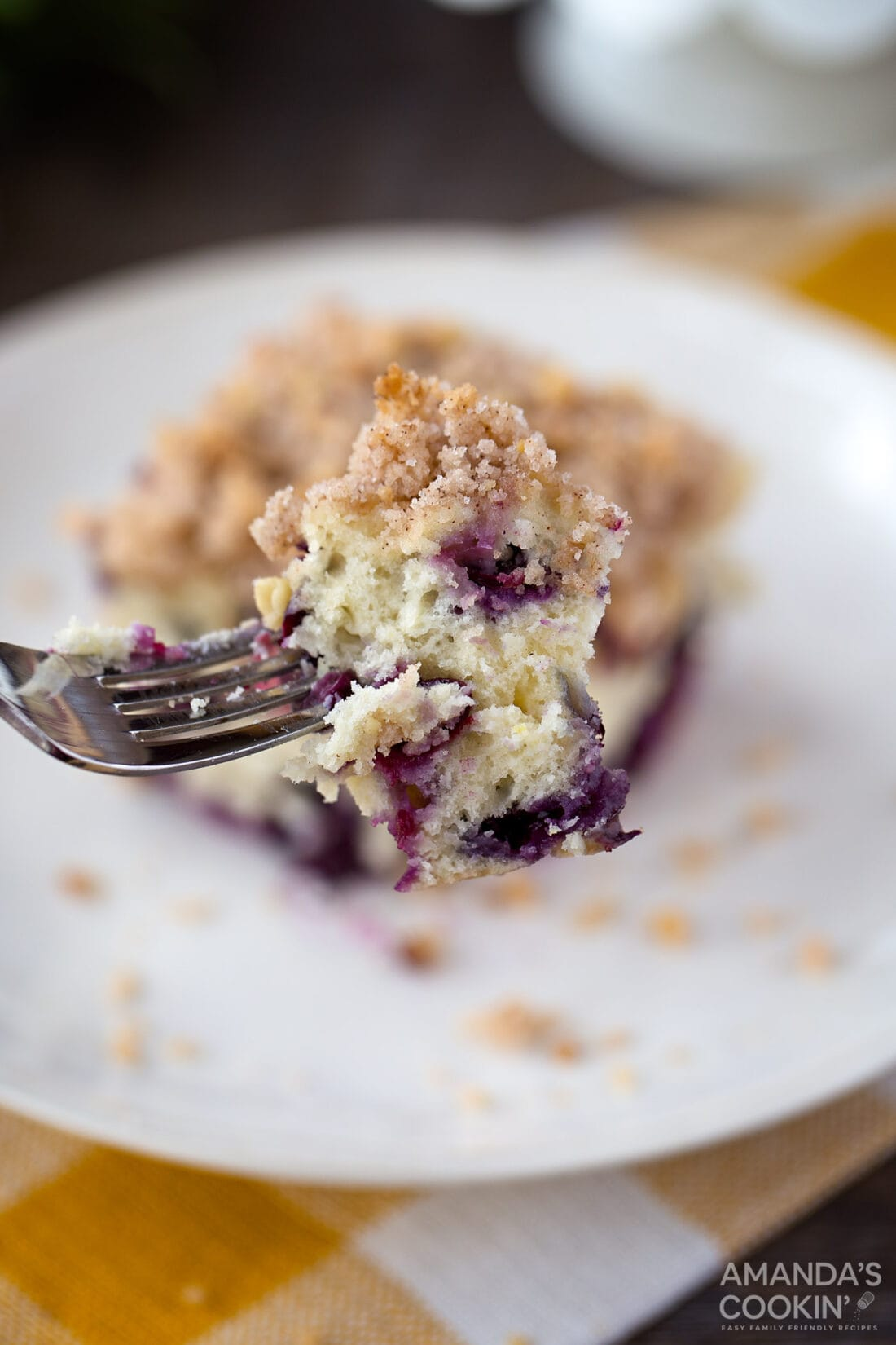 fork of blueberry breakfast cake