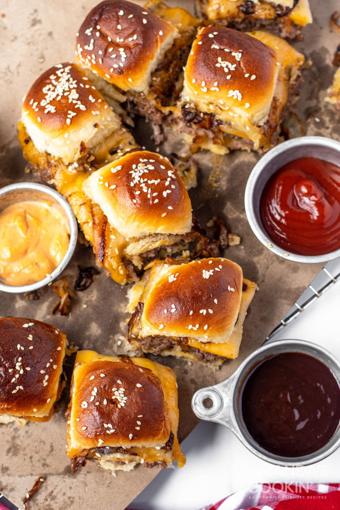 overhead view of cheeseburger sliders