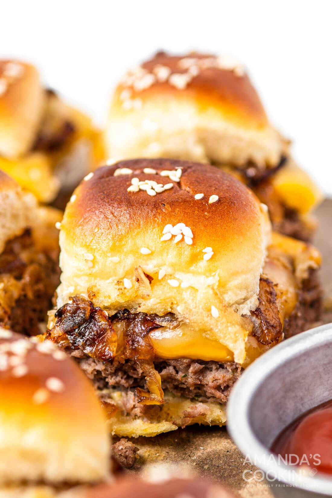 cheeseburger sliders on a tray