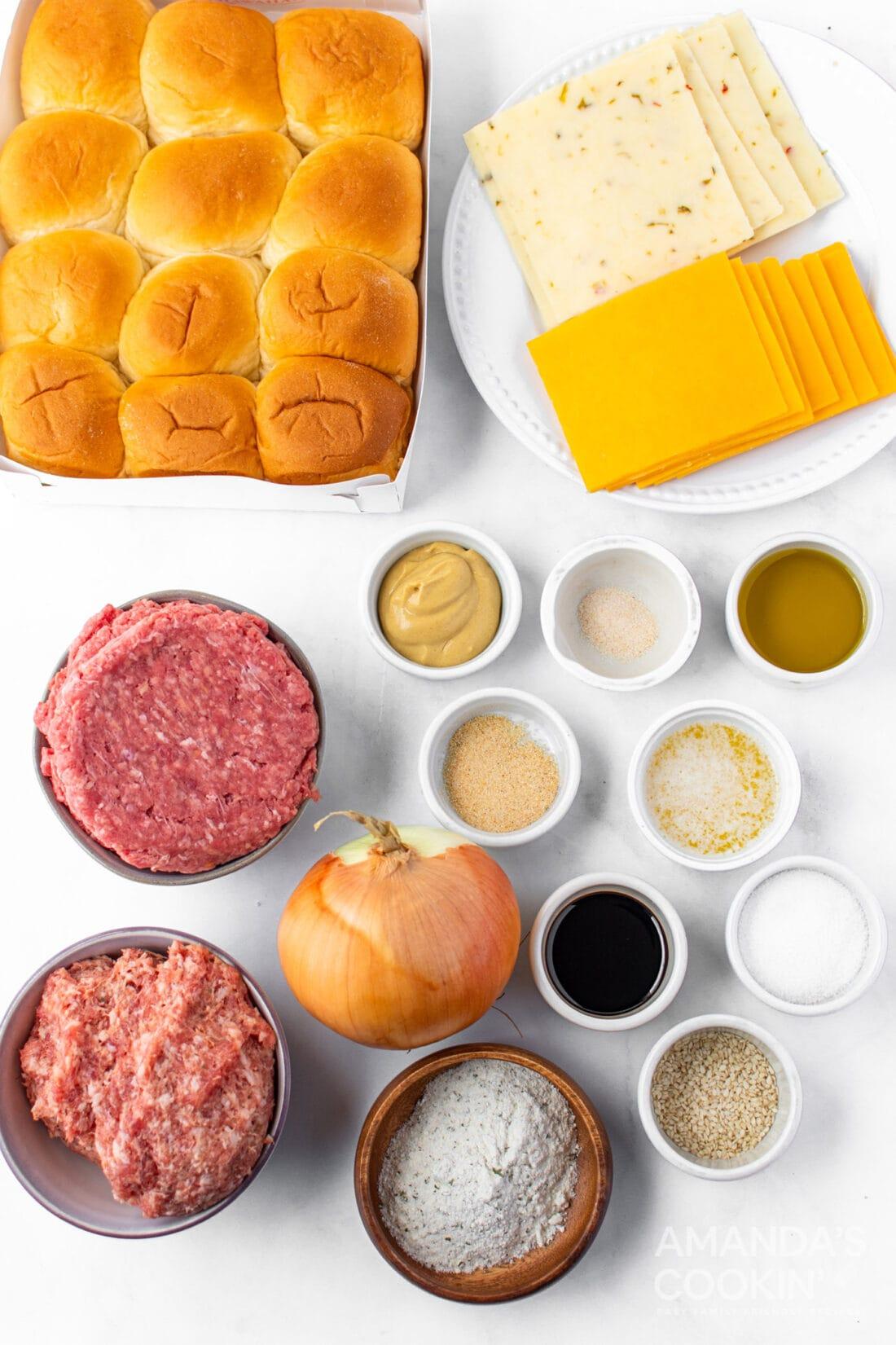 ingredients for cheeseburger sliders