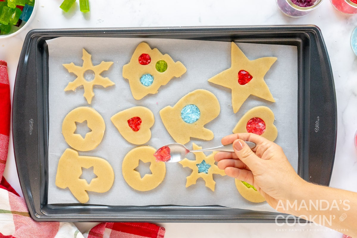adding candy to cookies