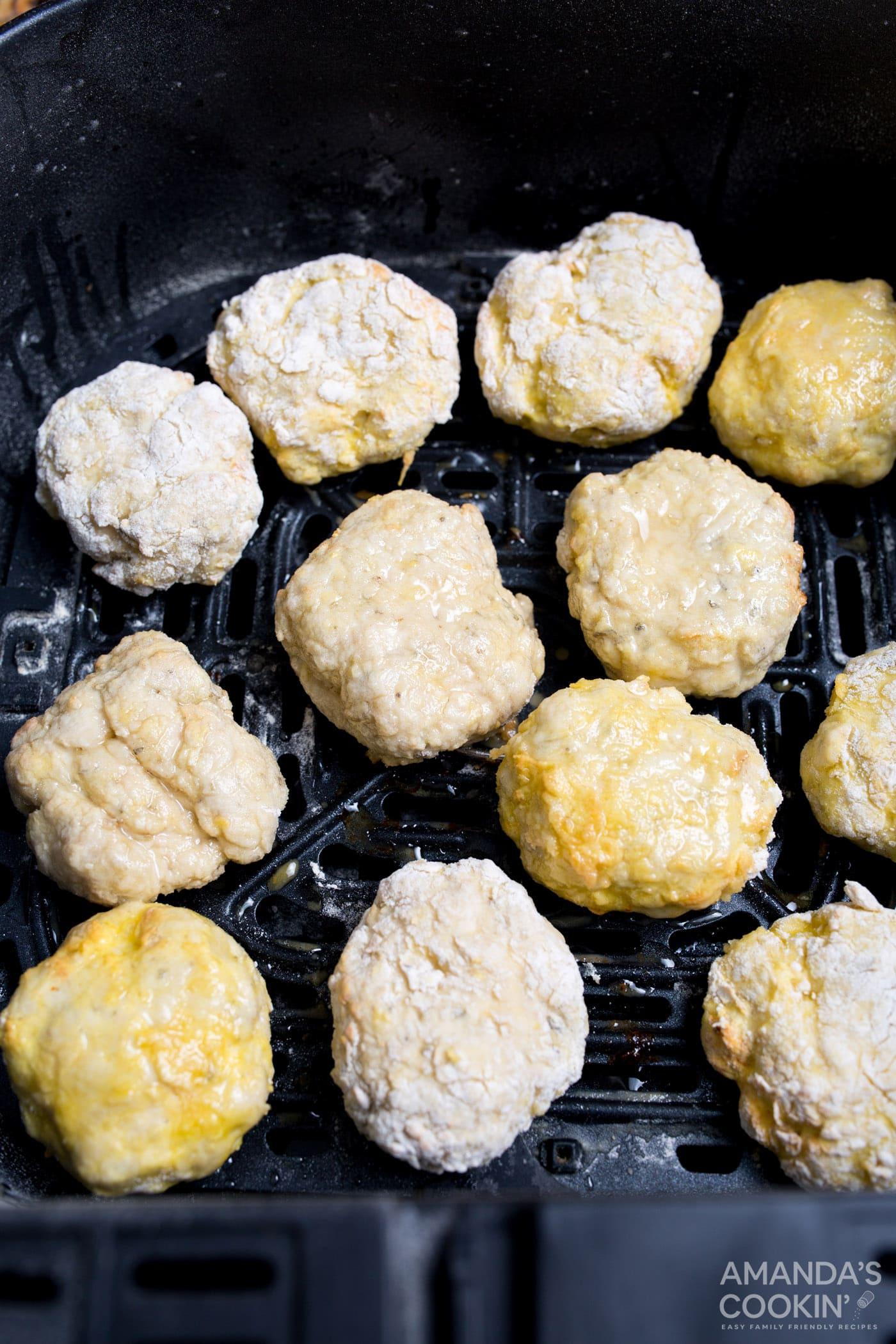 uncooked air fryer chicken nuggets in air fryer basket