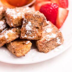 Air Fryer French toast bites on a plate