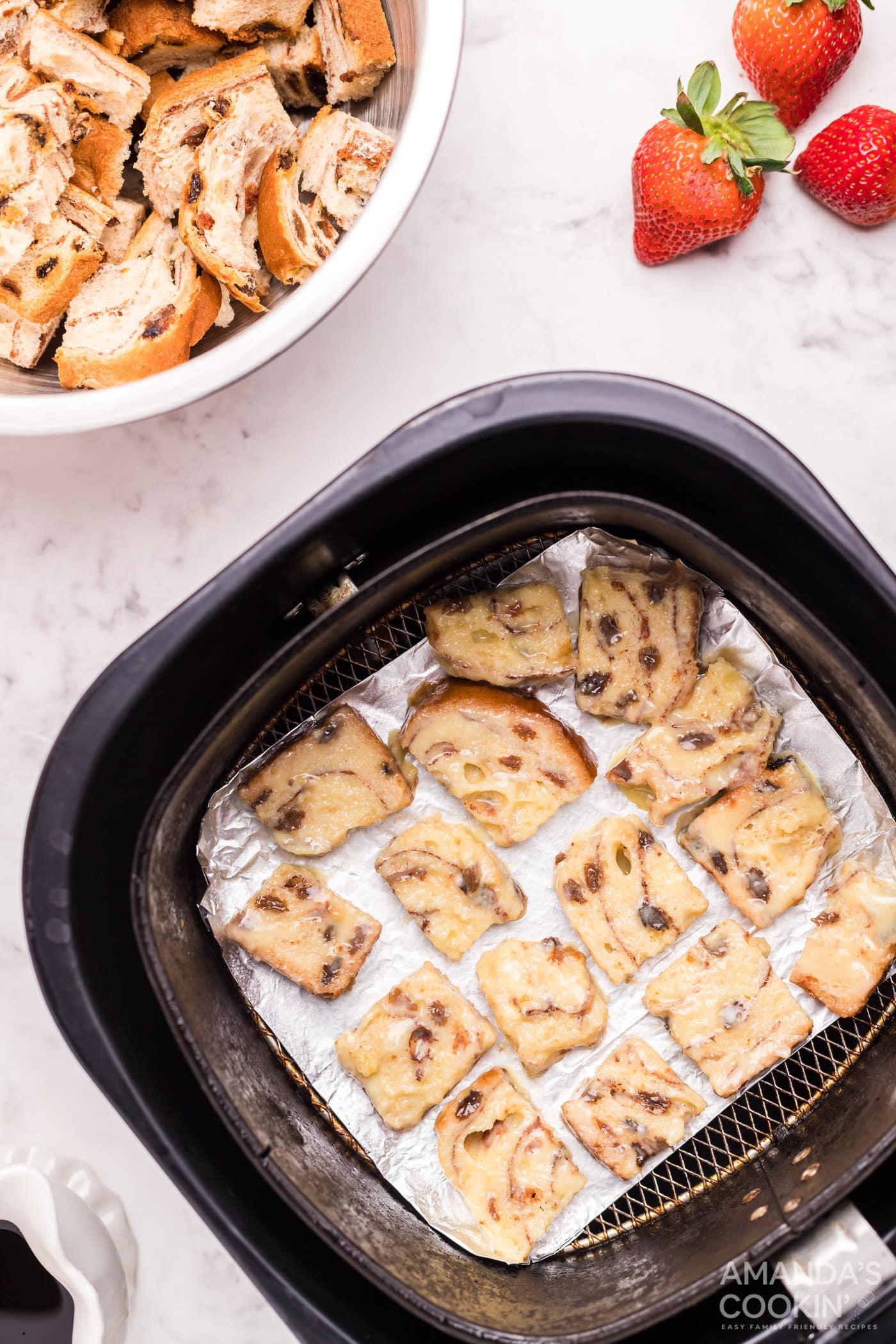 bread squares in air fryer basket