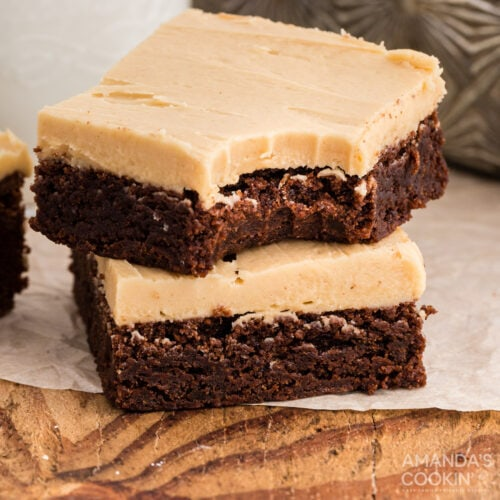 two brownies, one with a bite out of it