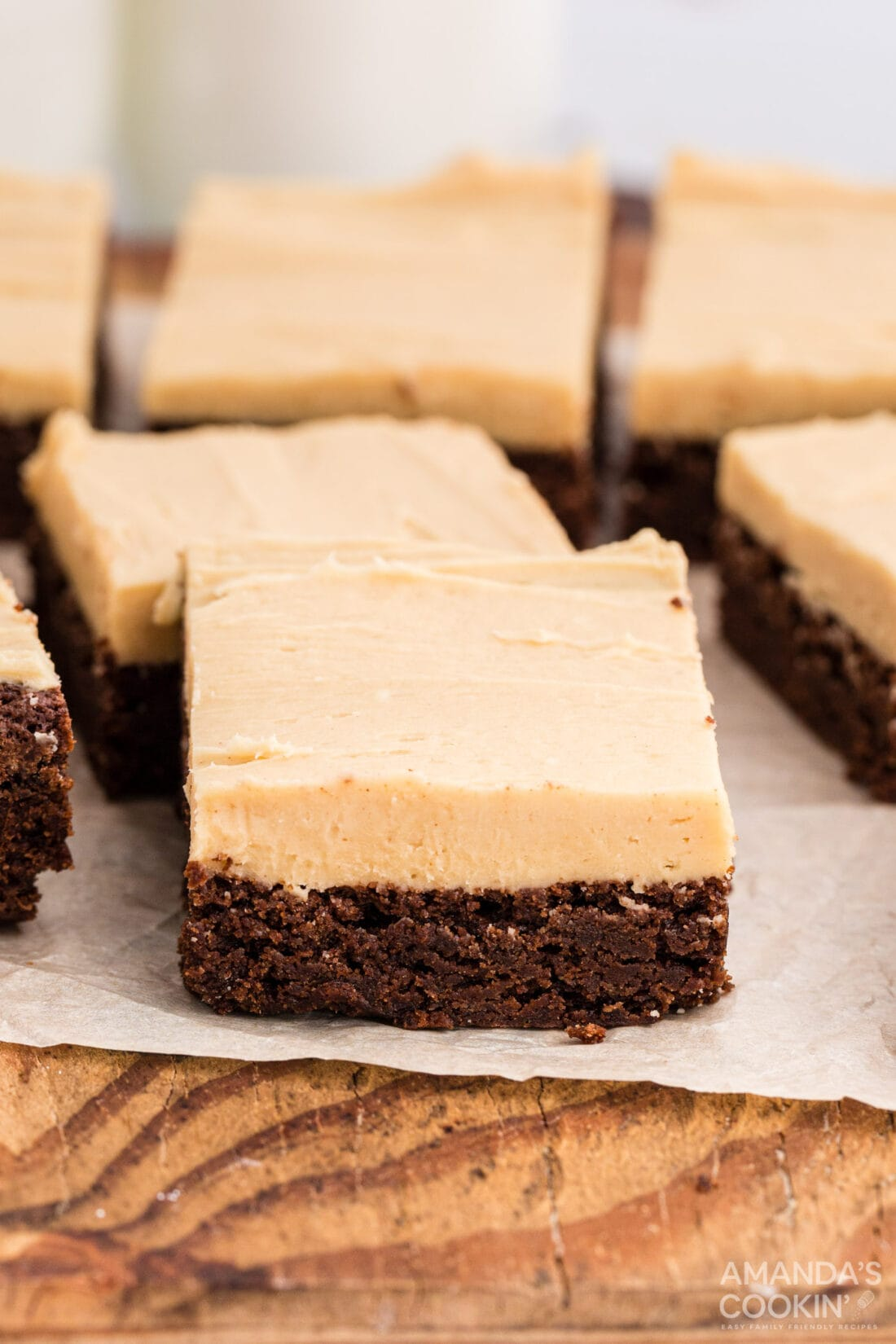 FUDGE BROWNIE SQUARES WITH PEANUT BUTTER FROSTING