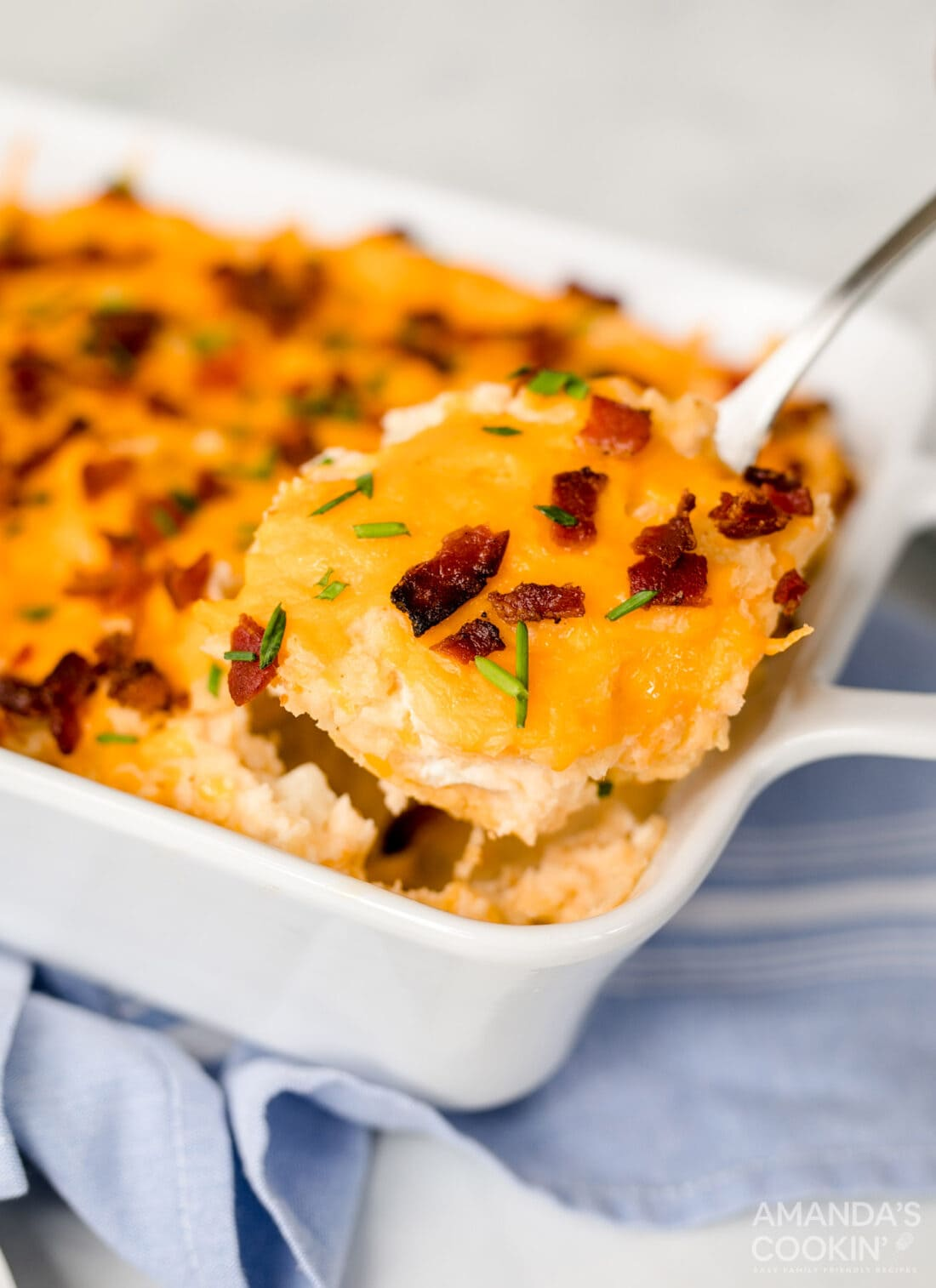 serving mashed potato casserole