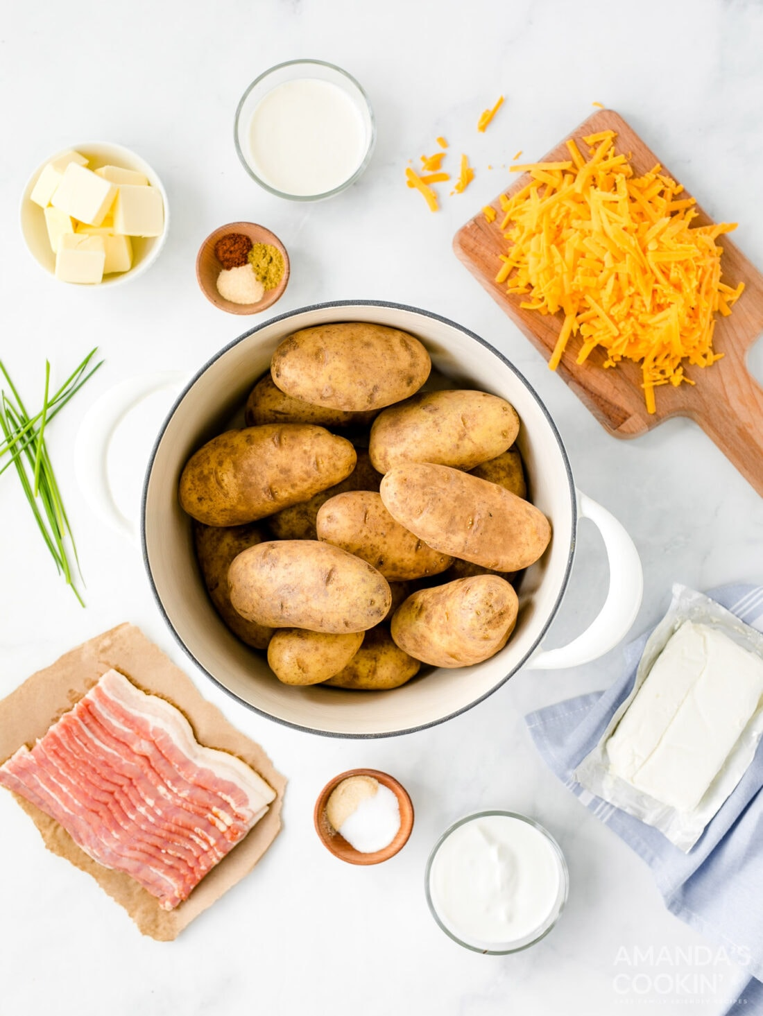 ingredients needed for loaded mashed potato casserole
