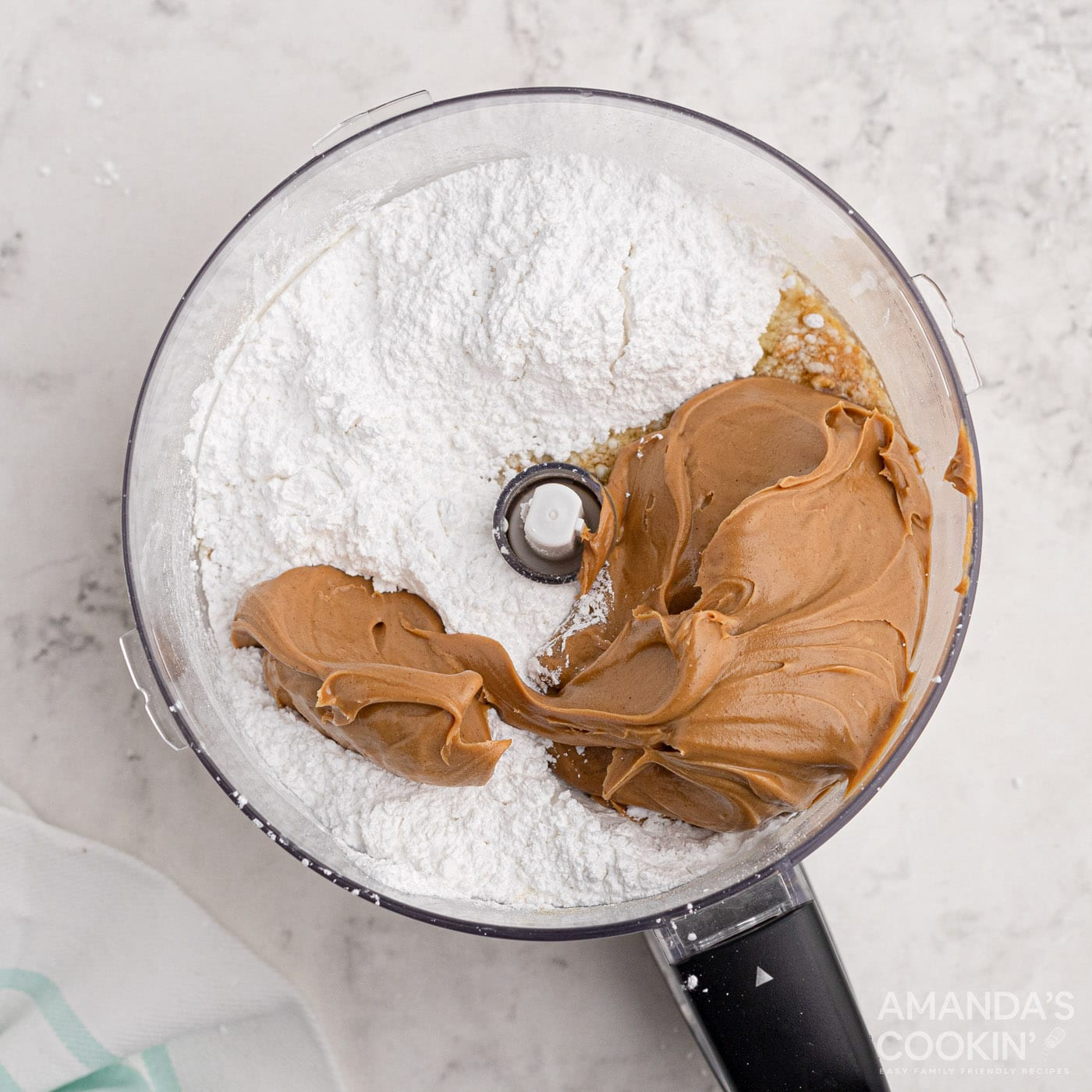 peanut butter bar ingredients in a food processor