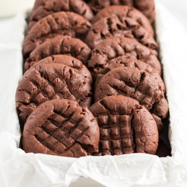 chocolate peanut butter cookies in a box