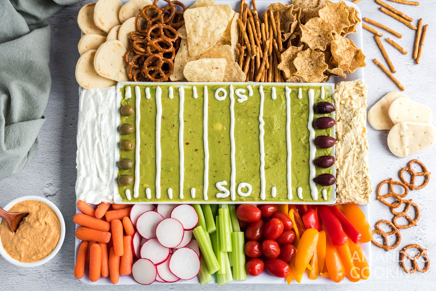 overhead shot on football party tray