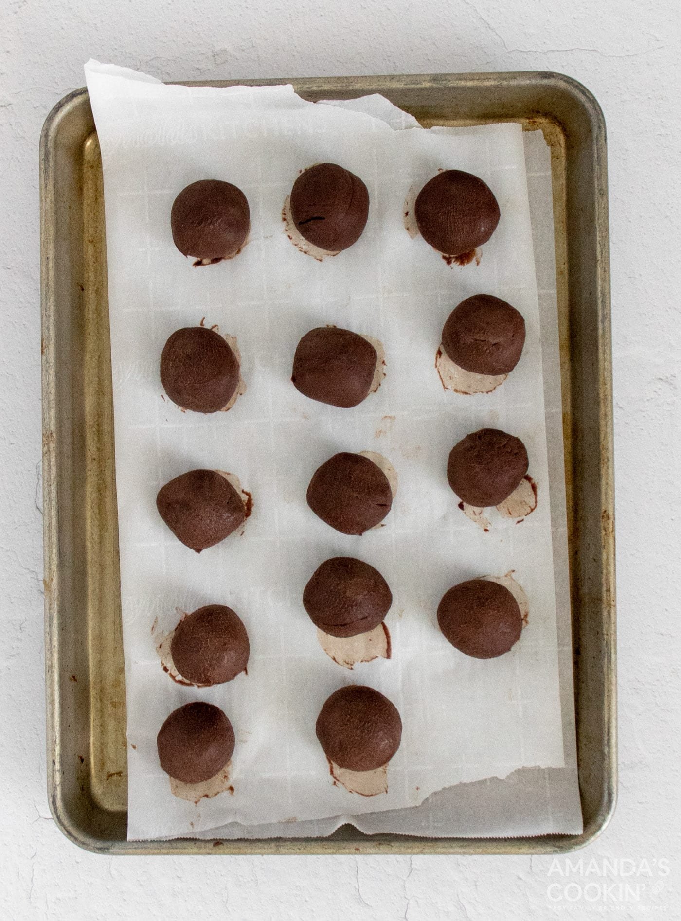 truffles on baking pan
