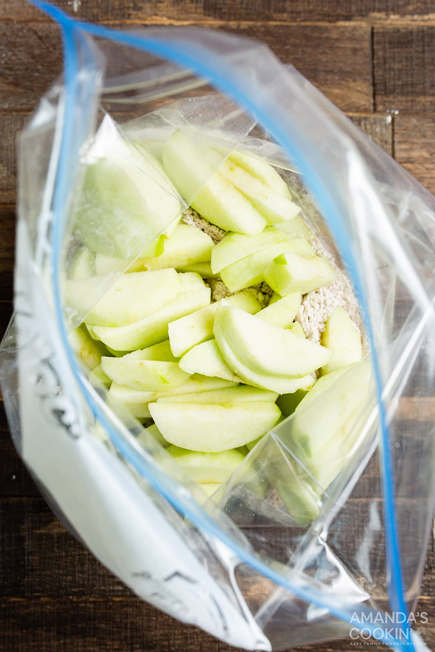 apples in a bag with flour