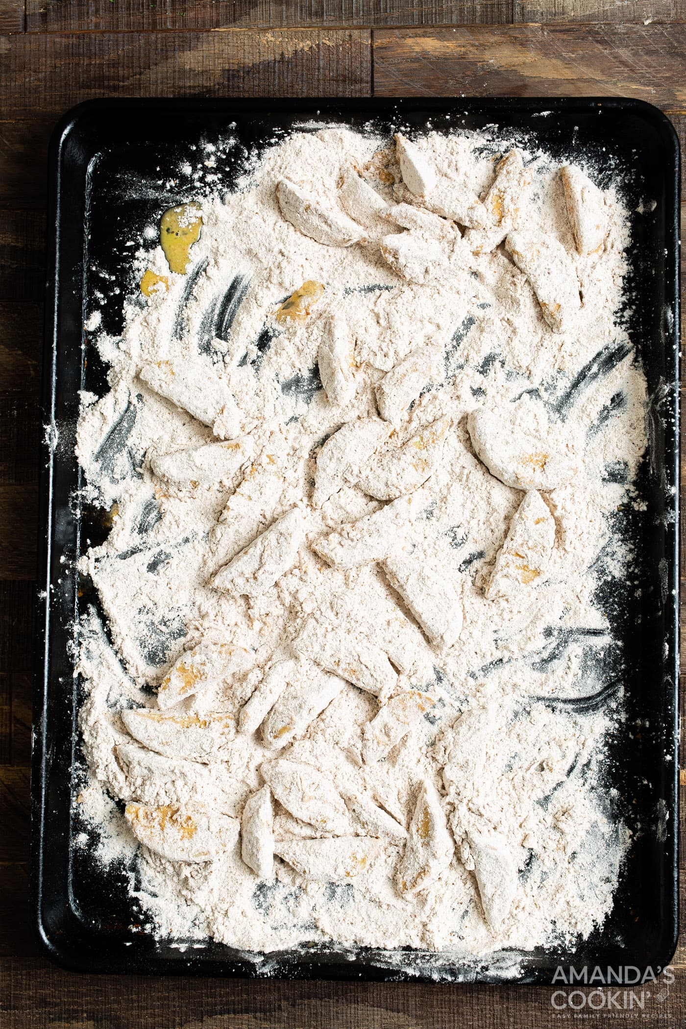 flours apple slices on baking sheet