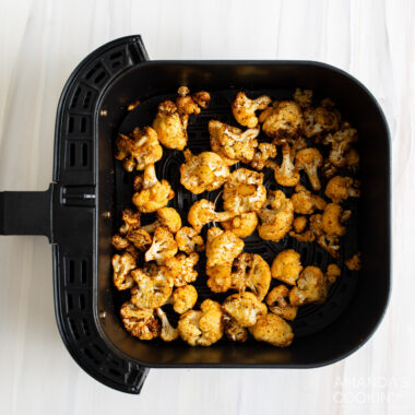 air fried cauliflower in air fryer basket