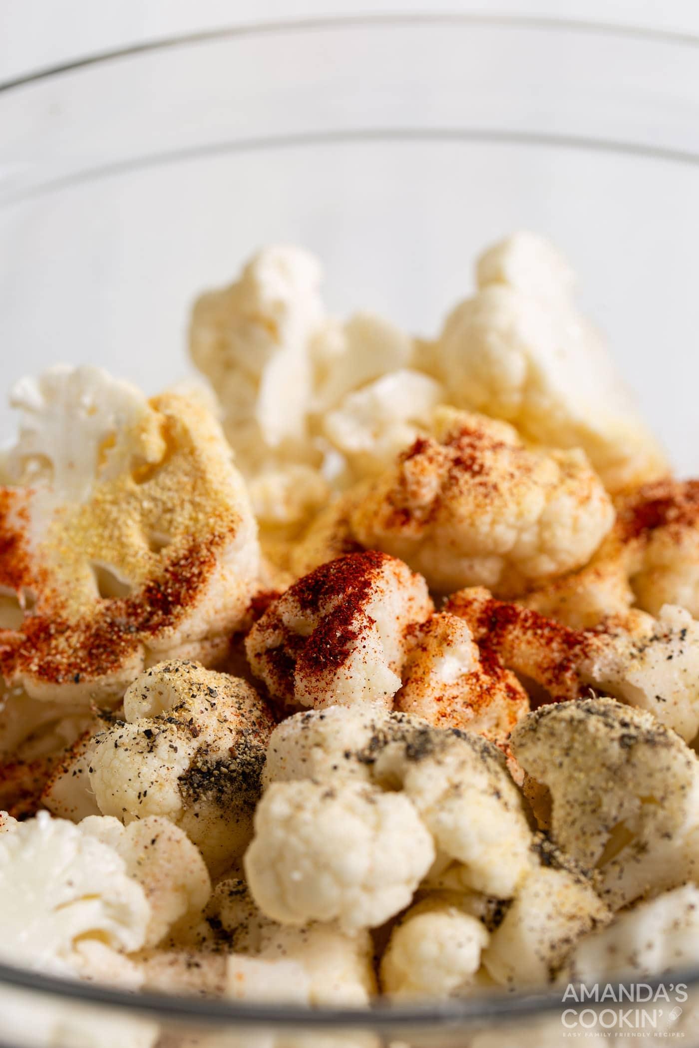 seasoning mix on cauliflower
