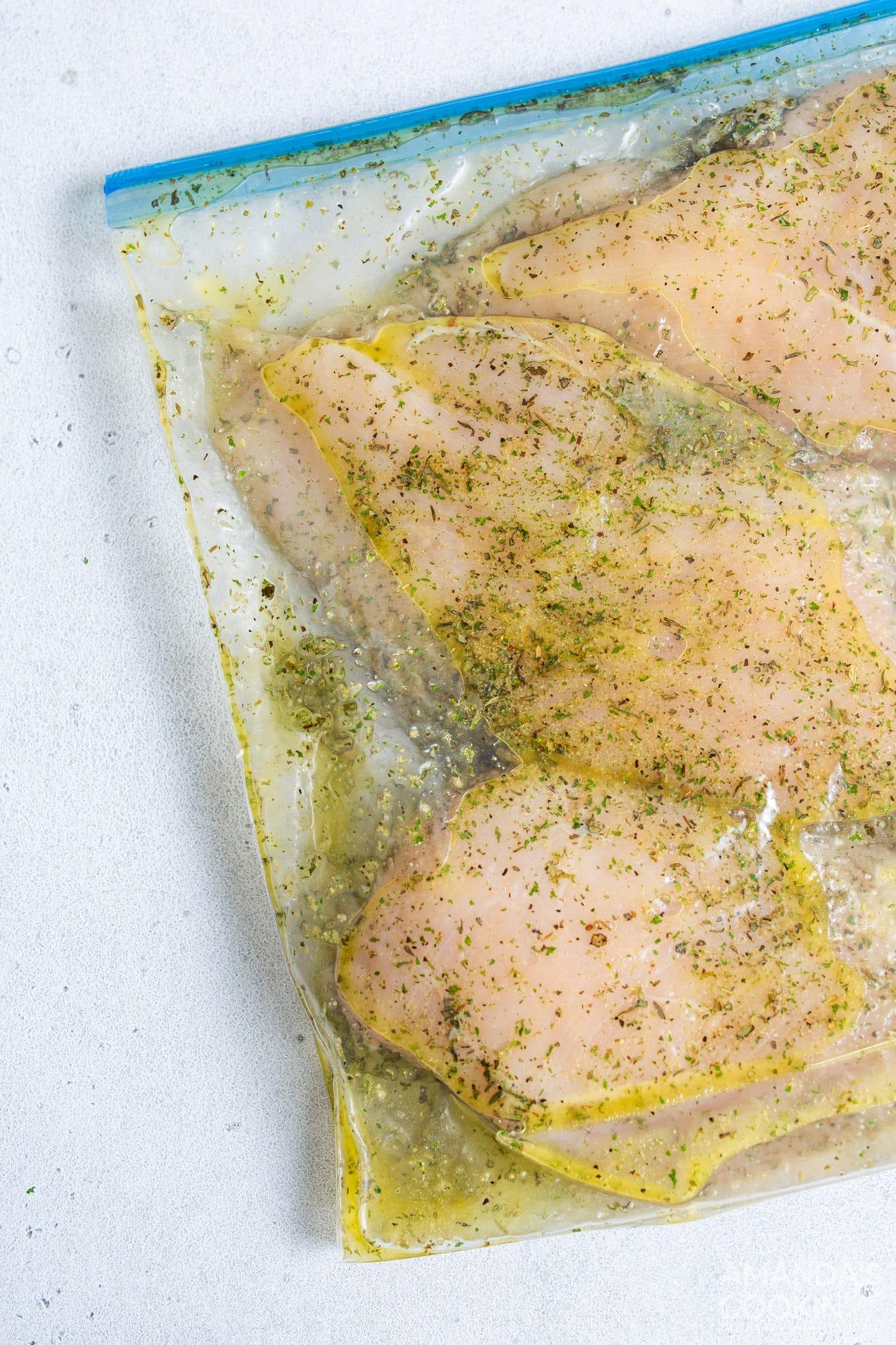 seasoned chicken in a bag