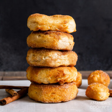stack of sugared air fryer donuts