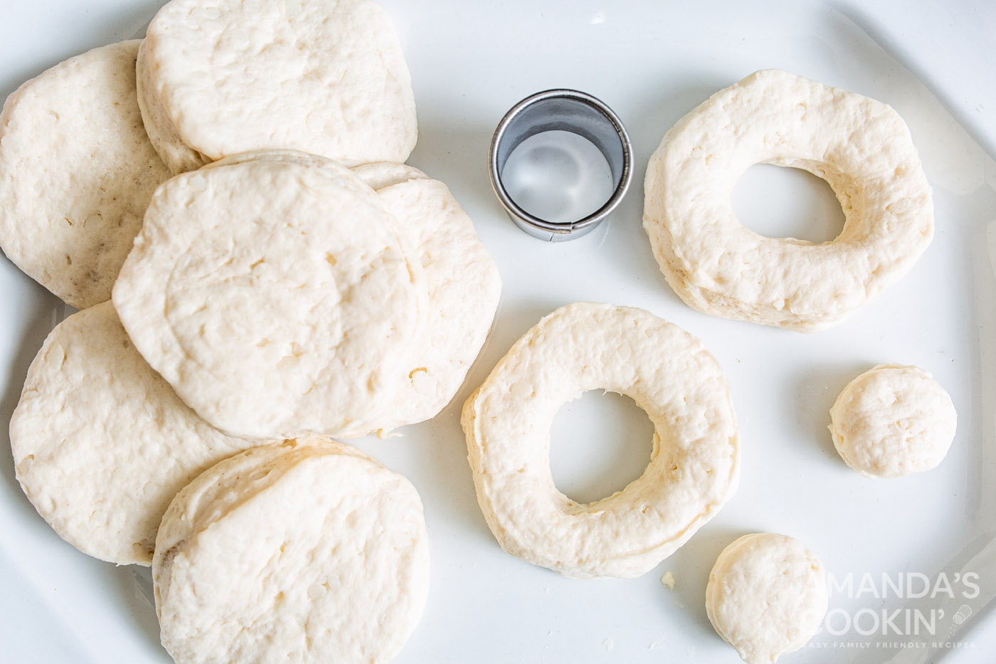 biscuits cut into donuts