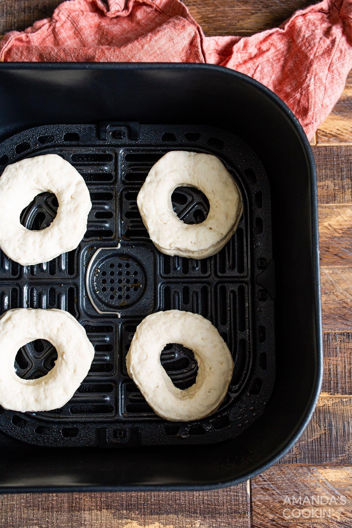 donuts in air fryer basket