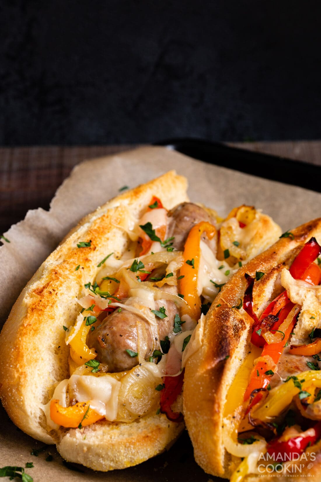 Air Fryer Italian Sausage and Peppers on a bun