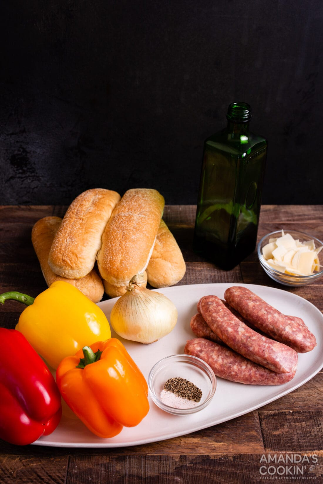 ingredients for Air Fryer Italian Sausage and Peppers