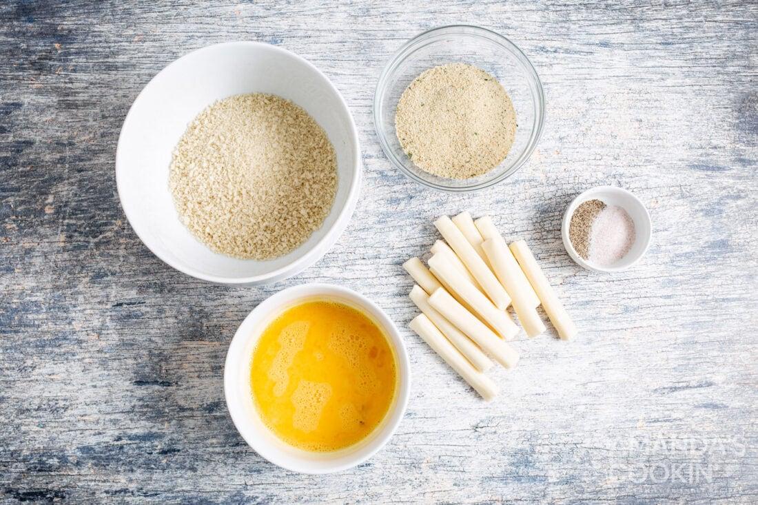ingredients for air fryer mozzarella sticks