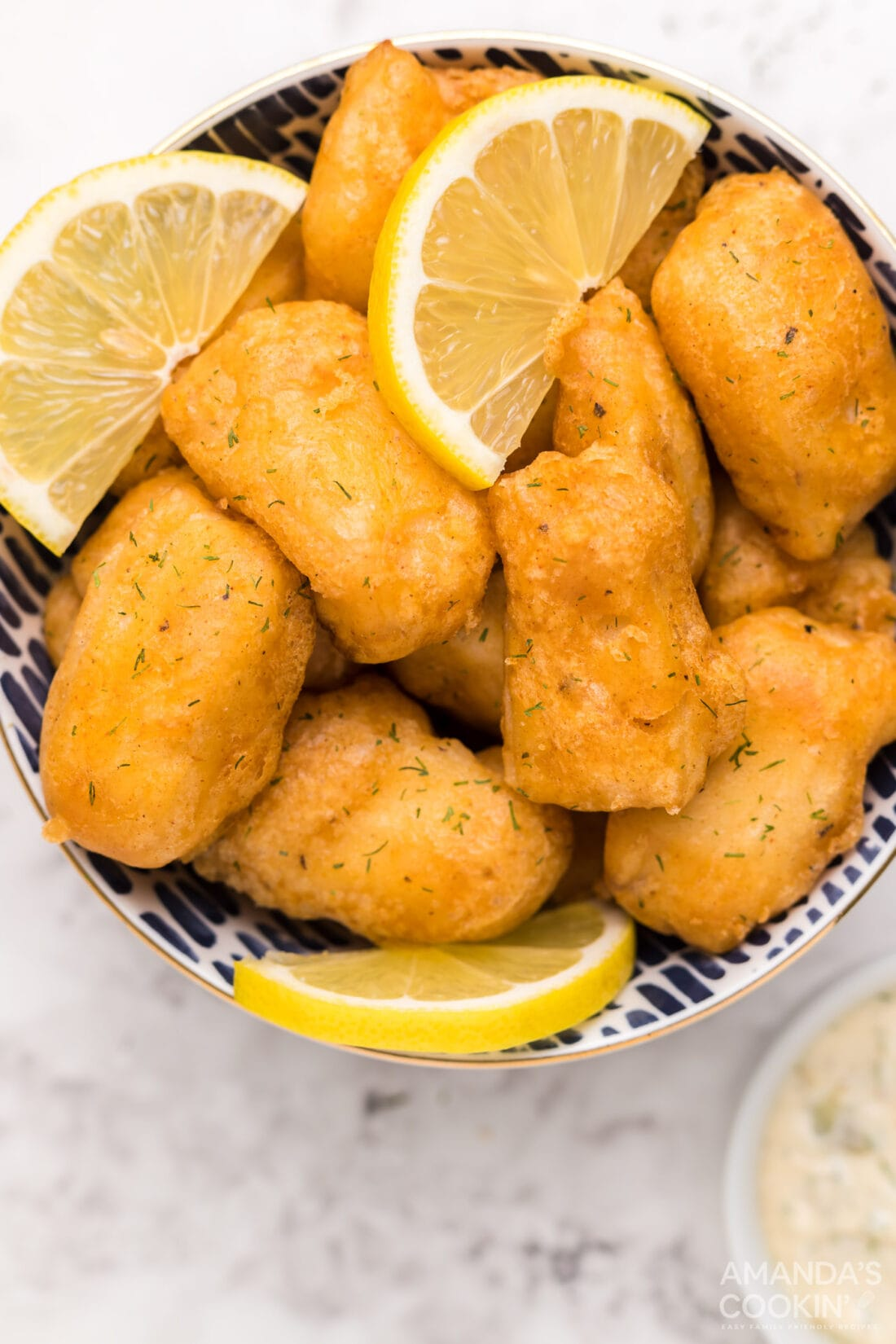 beer battered fish in a bowl