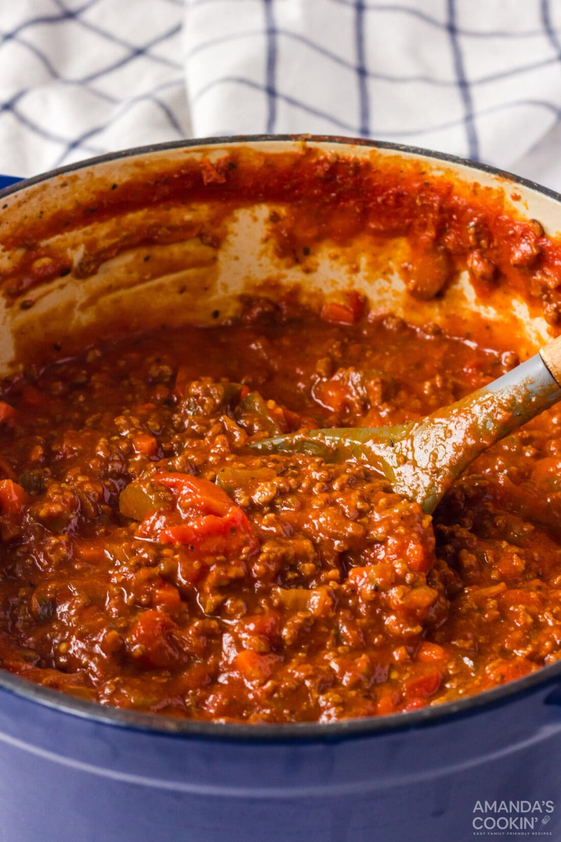 pot of bolognese sauce