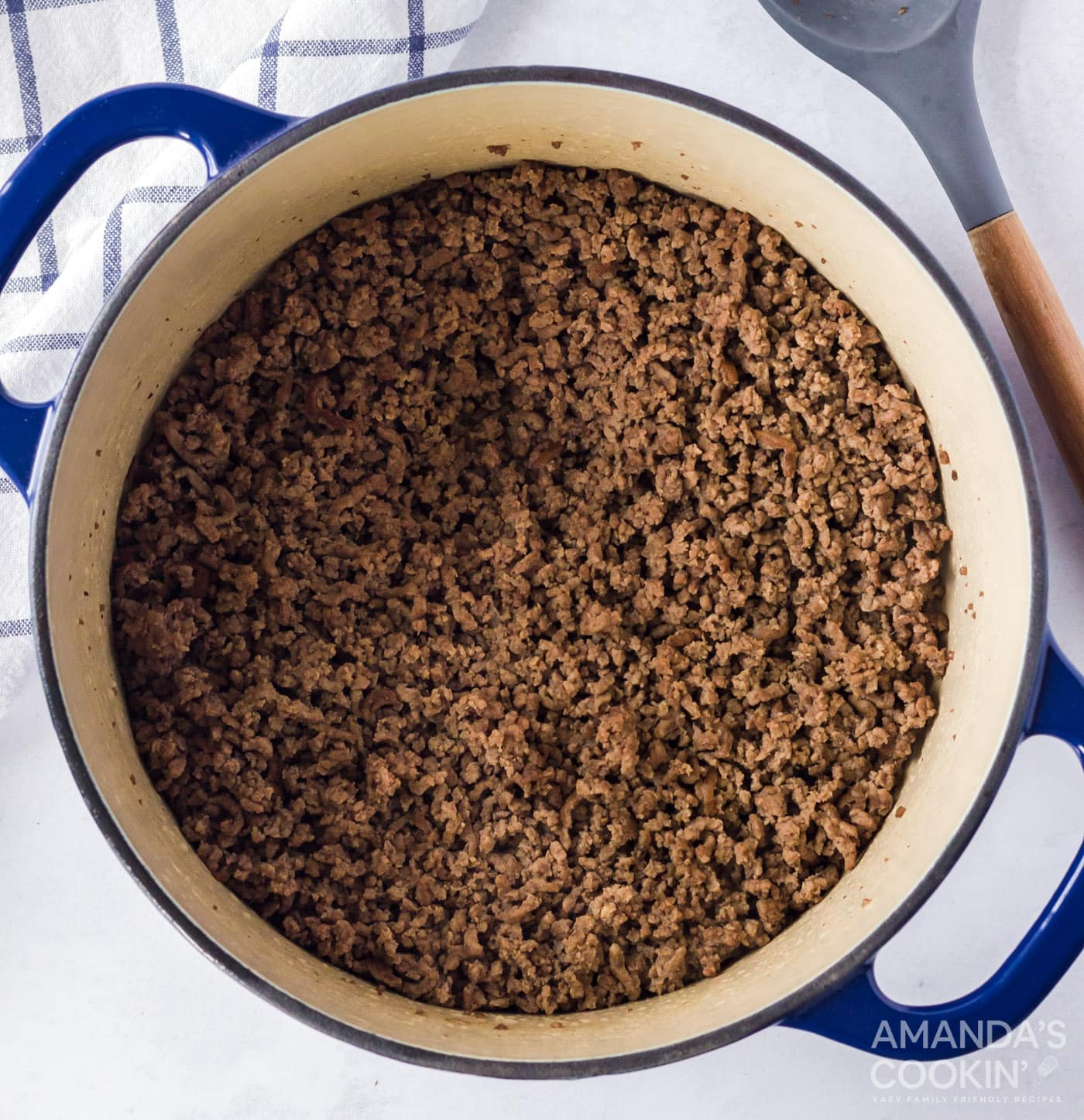 browned ground beef in a large pot