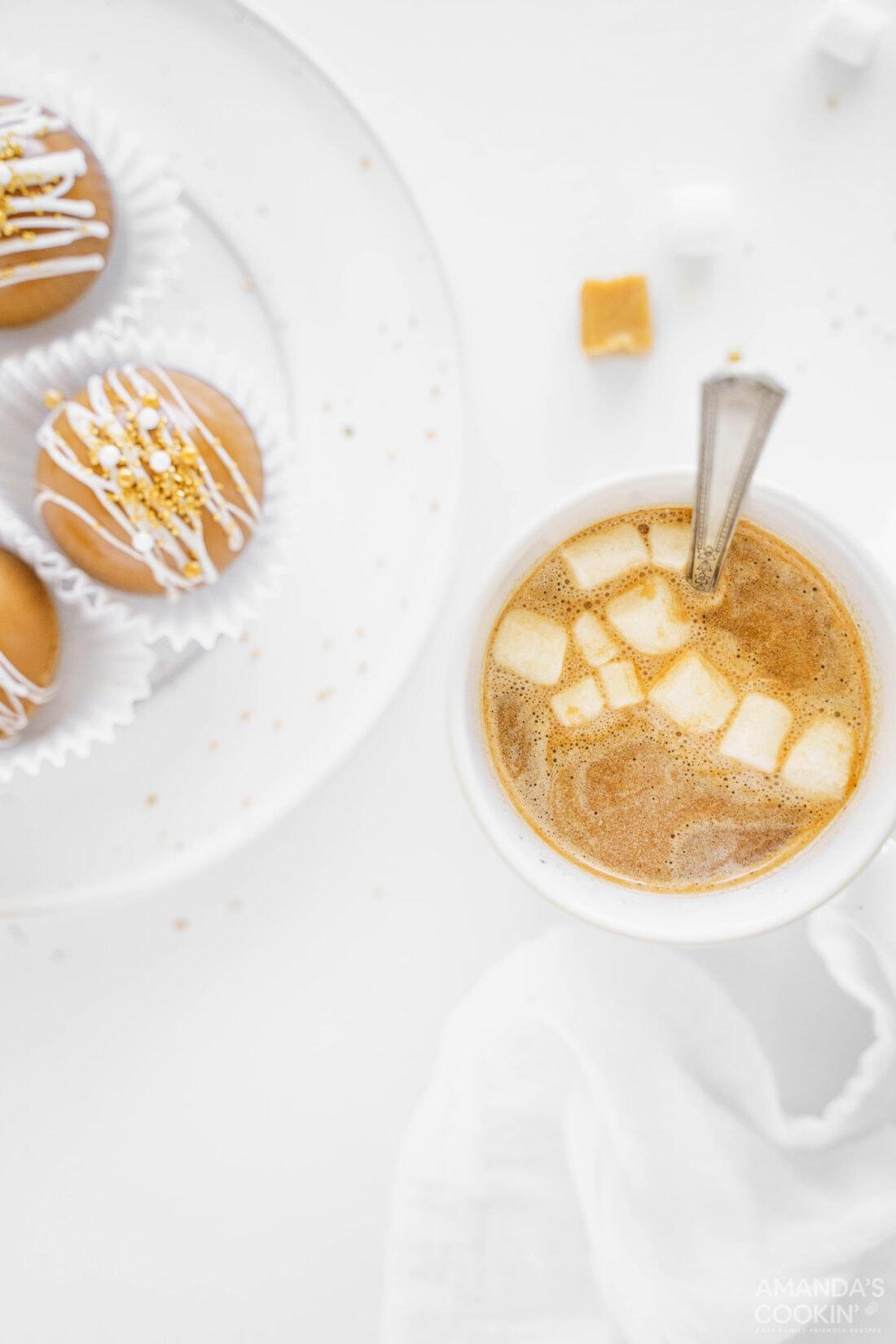 mug of caramel hot cocoa