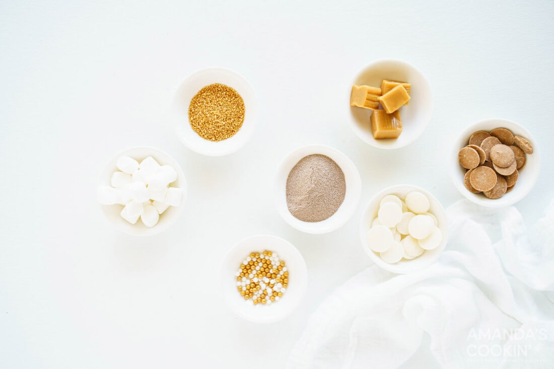ingredients to make caramel hot cocoa bombs