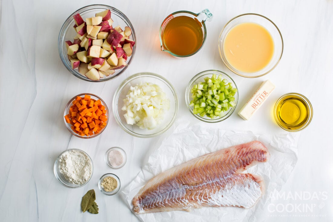 ingredients for fish chowder