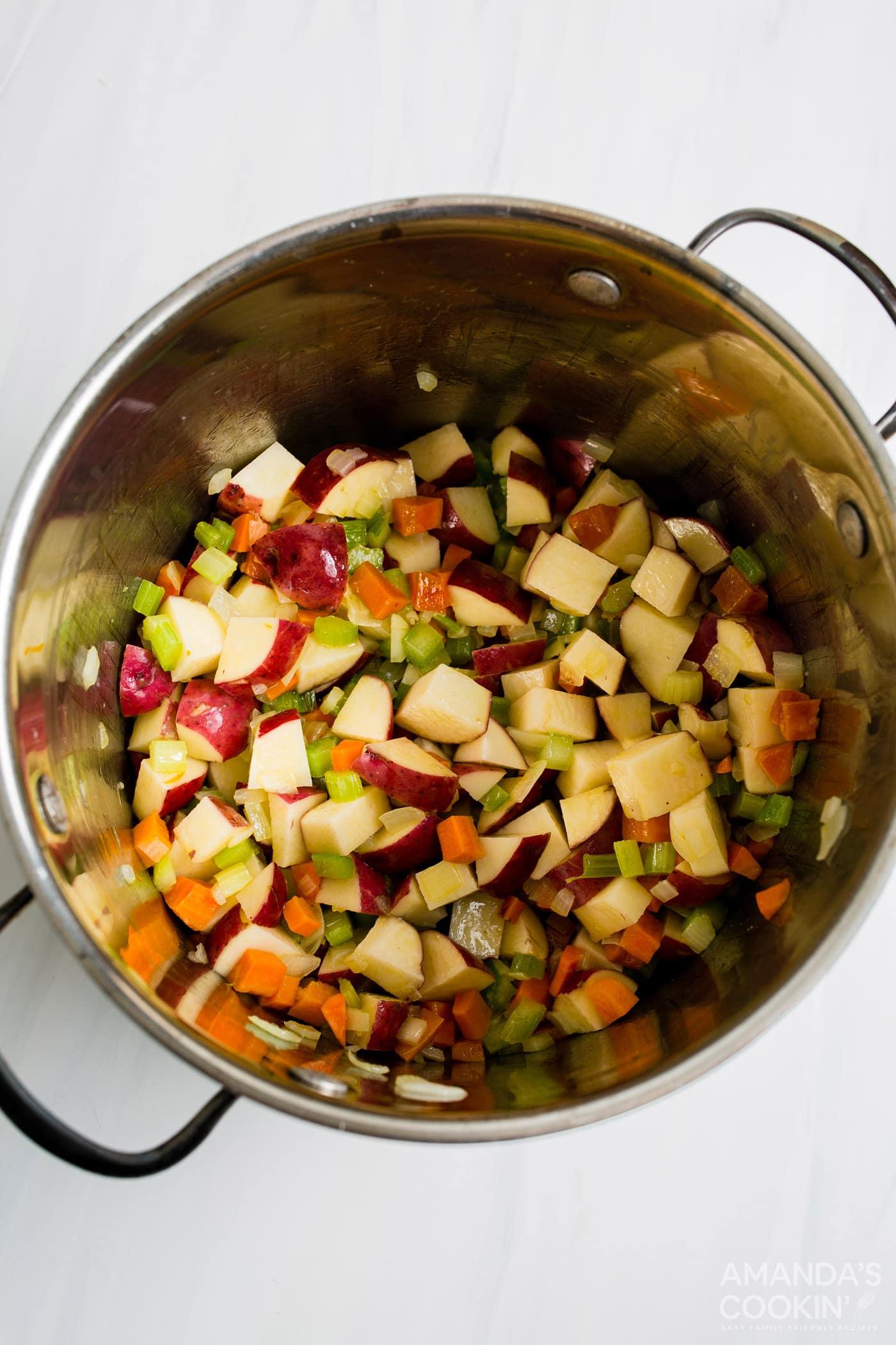 potatoes and vveggies in pot