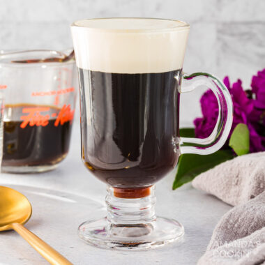 glass mug of irish coffee