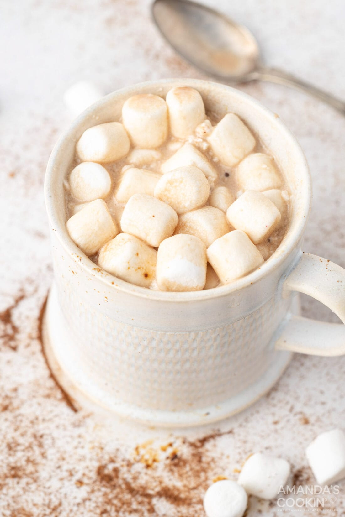 mug of mocha hot chocolate with marshmallows