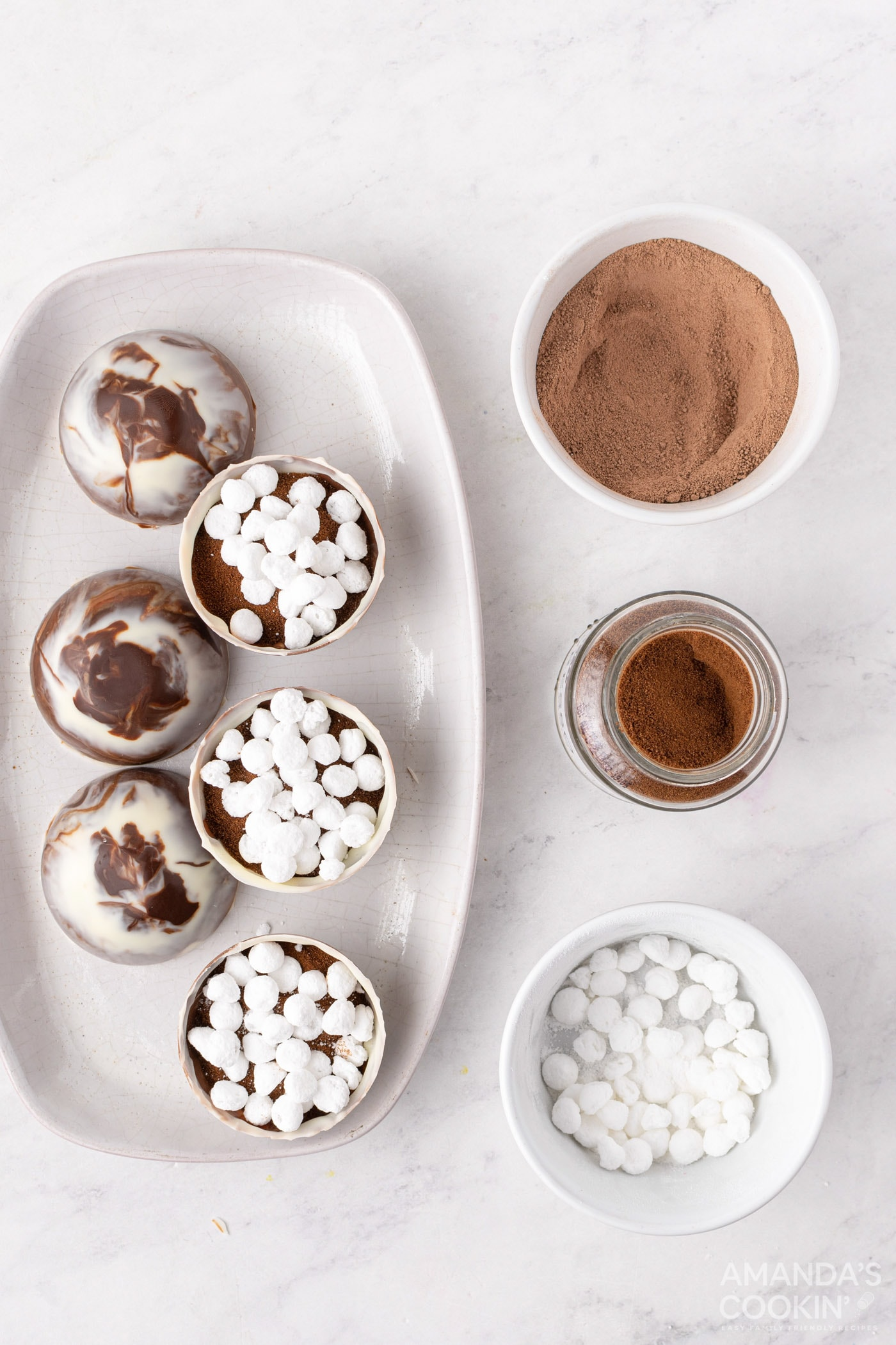 espresso and marshmallows in bomb molds