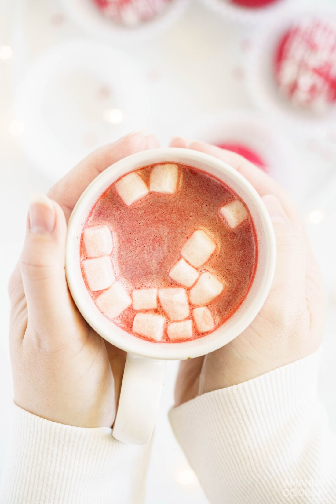 mug of red velvet hot chocolate