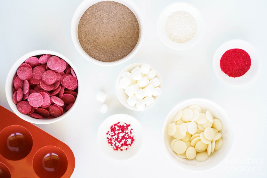 ingredients for making red velvet hot cocoa bombs