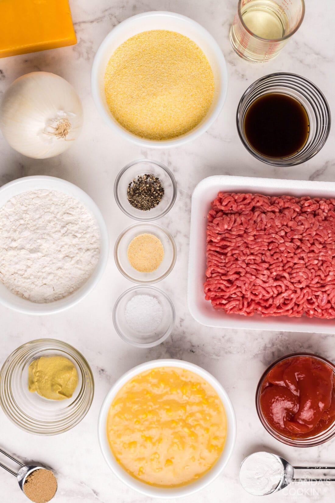 ingredients for Sloppy Joe Corn Muffins
