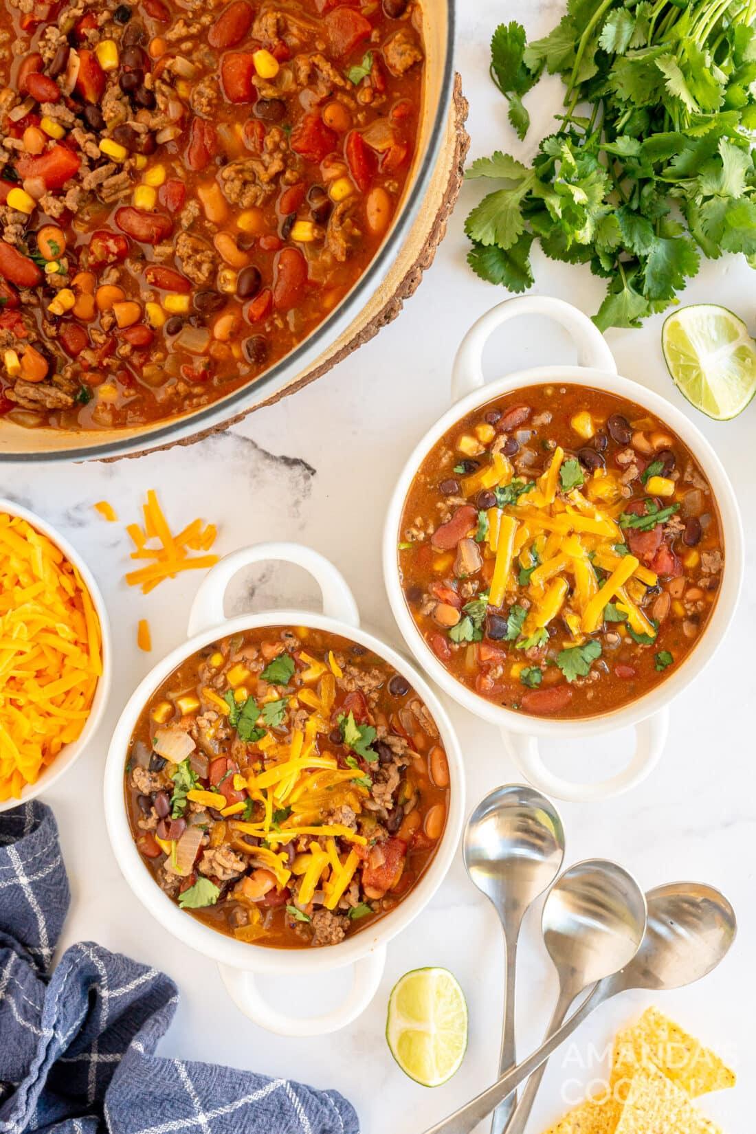 2 bowls of taco soup