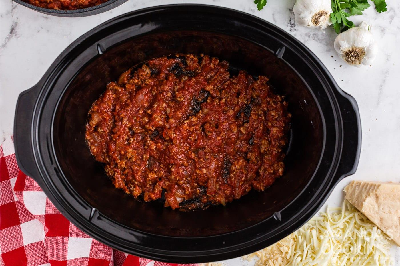 meat sauce in bottom of crockpot