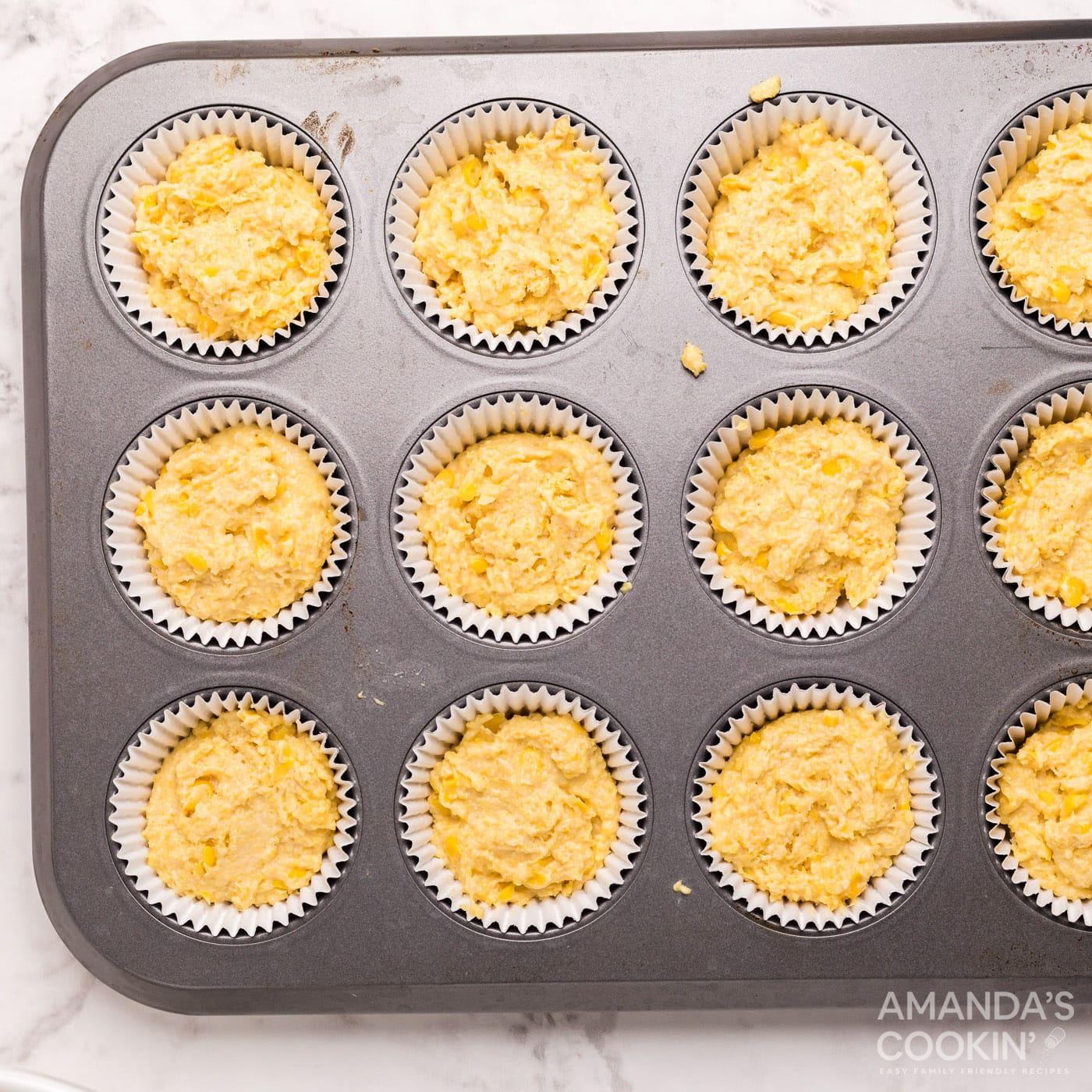cornbread muffin batter in a pan