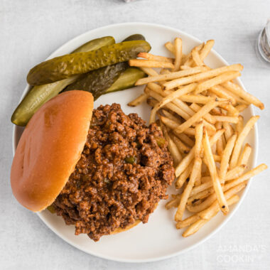 sloppy joe sandwich with fries